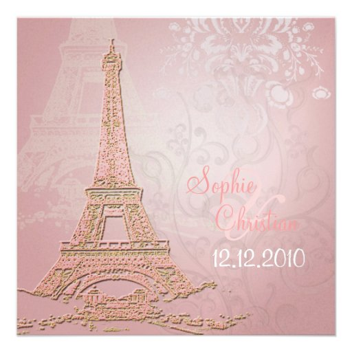 Pink Paris Eiffel + swirls  Wedding Invitations