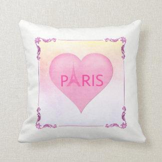 Pink Paris Eiffel Tower Cute Pink Heart Watercolor Cushion