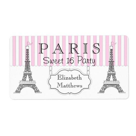 Pink Paris Eiffel Tower Sweet 16 Name Shipping Label