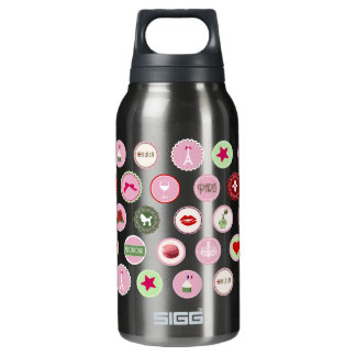 Pink Paris love girly pattern Insulated Water Bottle