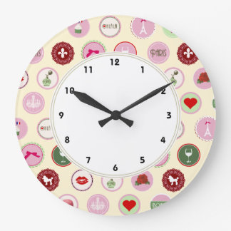 Pink Paris love girly pattern Large Clock