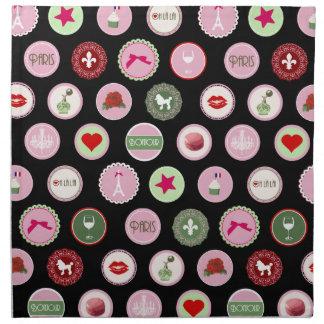 Pink Paris love girly pattern Napkin