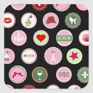 Pink Paris love girly pattern Square Sticker