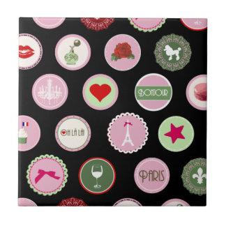 Pink Paris love girly pattern Tile