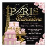 Pink Paris Quinceanera 13 Cm X 13 Cm Square Invitation Card