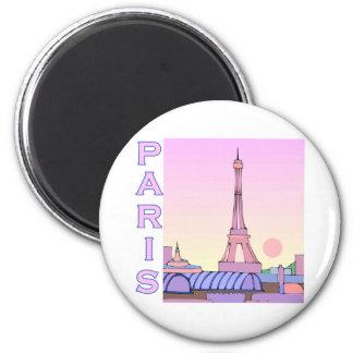 Pink Paris Sunset Products 6 Cm Round Magnet