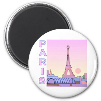 Pink Paris Sunset Products 6 Cm Round Magnet