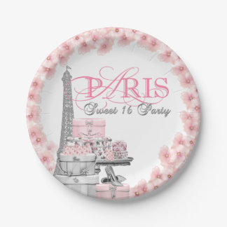 Pink Paris Sweet 16 Birthday Party 7 Inch Paper Plate