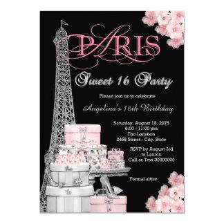 Pink Paris Sweet 16 Party 13 Cm X 18 Cm Invitation Card