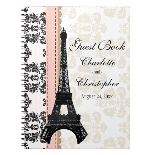 Pink Parisian Eiffel Tower Wedding Guest Book