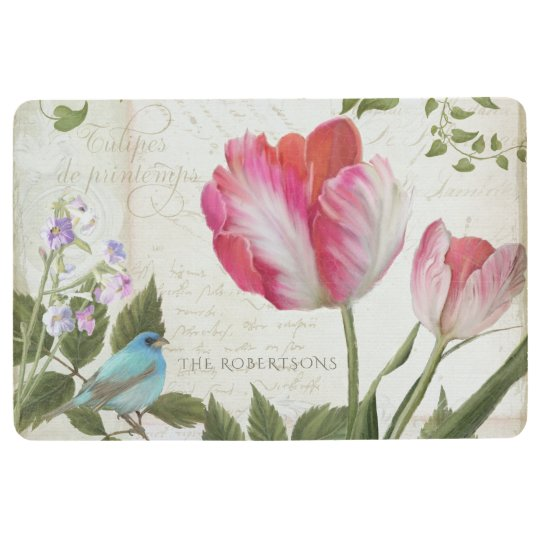 Pink Parrot Tulips w Bird French Typography Script