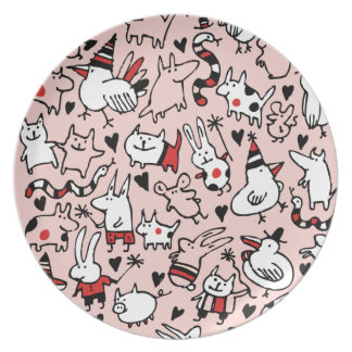 Pink Party Animals Plate