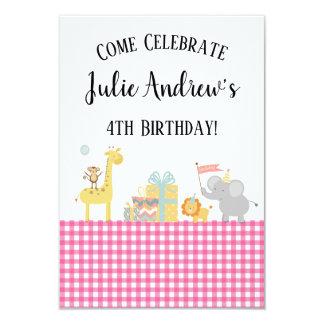 Pink Party Animals Safari B-Day Invitations