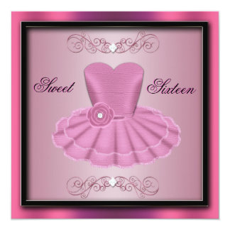Pink Party Dress Birthday Invite