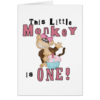 Pink Party  Monkey 1st Birthday Tshirts and Gifts Greeting Card