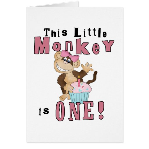 Pink Party  Monkey 1st Birthday Tshirts and Gifts Card
