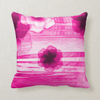 Pink Passion Flowers Airbrush Art Throw Pillow Cushion
