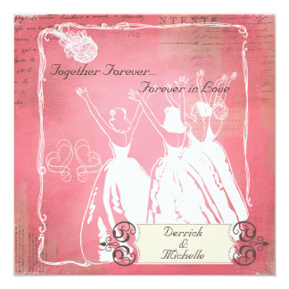 """Pink Passion Toss the Bouquet Wedding Invite 5.25"""" Square Invitation Card"""