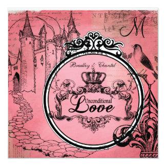 """Pink Passion Unconditional Love Wedding Invite 5.25"""" Square Invitation Card"""