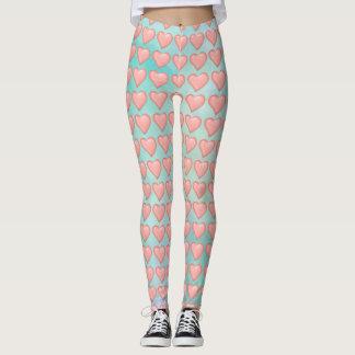 Pink pastal color Hearts pattern Leggings