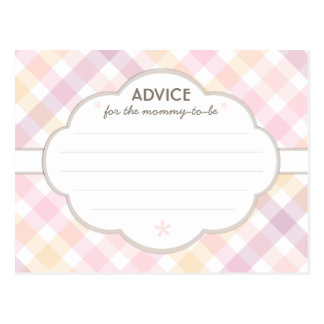 Pink Pastel Baby Shower Mommy to Be Advice Card Postcard