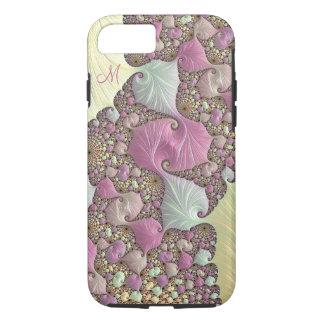 Pink Pastel Cream Fractal Monogram iPhone Case
