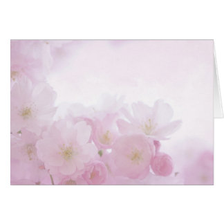Pink Pastel Floral Flower Blossoms Blank Notecard