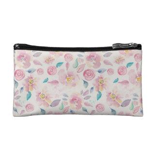 Pink Pastel Floral Pattern Cosmetic Bag
