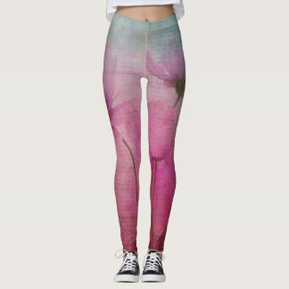 Pink Pastel Flower Leggins Leggings