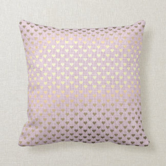 Pink Pastel Gold Metallic Hearts Linen Cottage Cushion