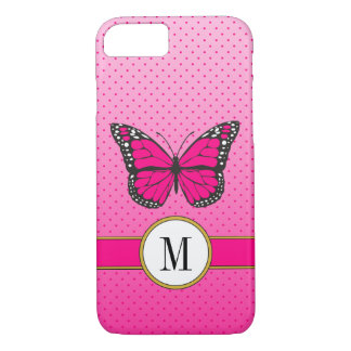 Pink Pastel Ombre & Dots Butterfly Custom Monogram iPhone 8/7 Case