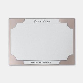 Pink Pastel  Powder Minimal Silver Elegant Office Post-it Notes
