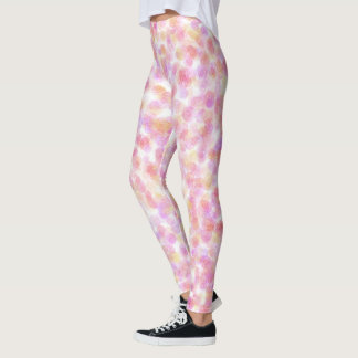 Pink Pastel Rose Pattern Leggings