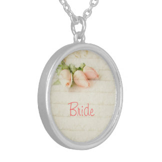 Pink Pastel Roses Bride Round Pendant Necklace