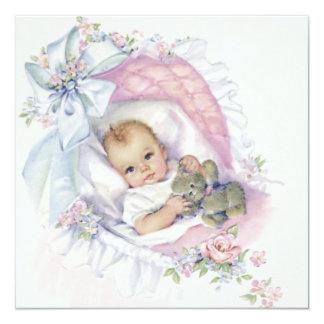Pink Pastel Vintage Baby Girl Shower 5.25x5.25 Square Paper Invitation Card