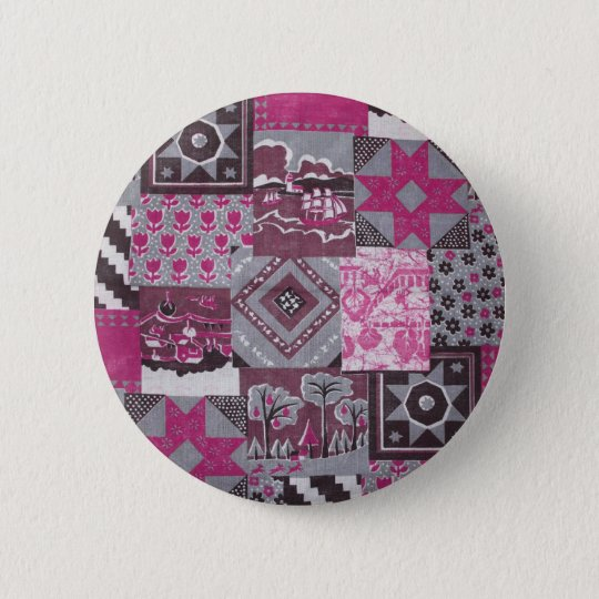 Pink Patchwork 6 Cm Round Badge