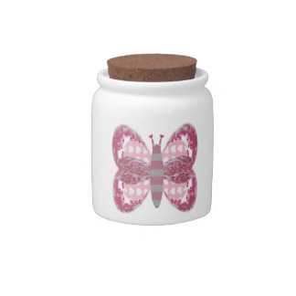 Pink Patchwork Butterfly Candy/Sugar Jar Candy Jars