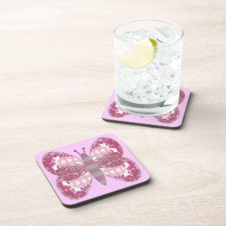 PInk Patchwork Butterfly Coaster Set