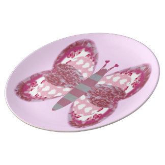 Pink Patchwork Butterfly Large Porcelain Plate