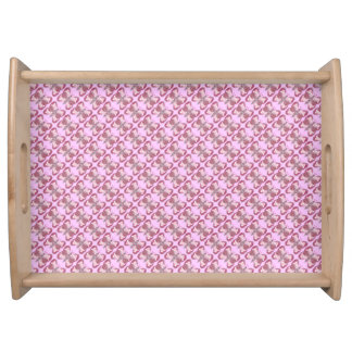 Pink Patchwork Butterfly Large Serving Tray