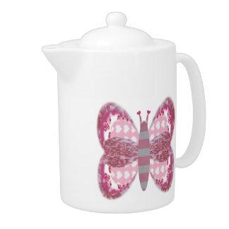 Pink Patchwork Butterfly Medium Teapot