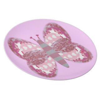 Pink Patchwork Butterfly Melamine Plate
