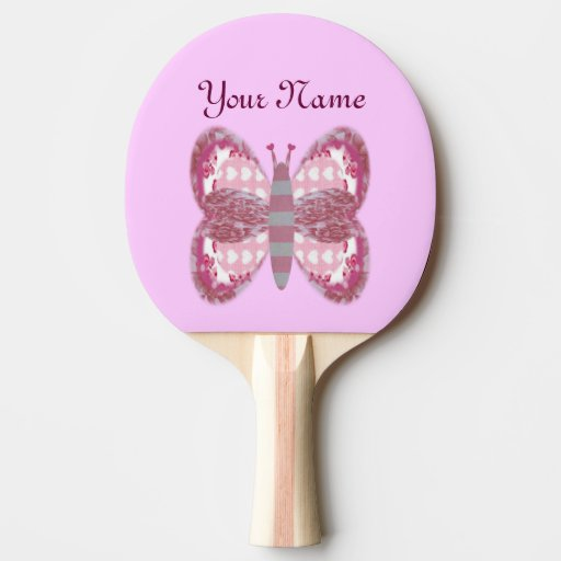Pink Patchwork Butterfly Ping Pong Paddle Ping-Pong Paddle
