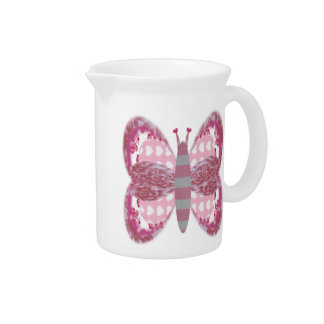 Pink Patchwork Butterfly Pitcher