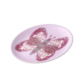 Pink Patchwork Butterfly Small Porcelain Plate