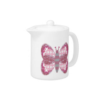 Pink Patchwork Butterfly Small Teapot
