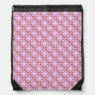 Pink Patchwork Butterfly Tiled Drawstring Backpack