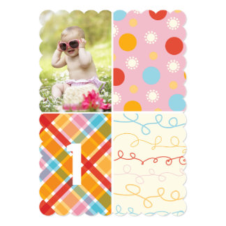 Pink Patchwork Dot Pattern Girl Photo 1st Birthday 13 Cm X 18 Cm Invitation Card