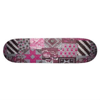 Pink Patchwork Skateboard Deck