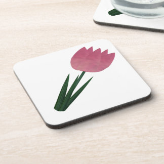 Pink Patchwork Tulip Coaster Set Beverage Coasters